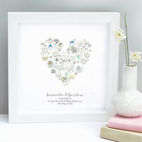 Personalised Diamond Anniversary Button Heart