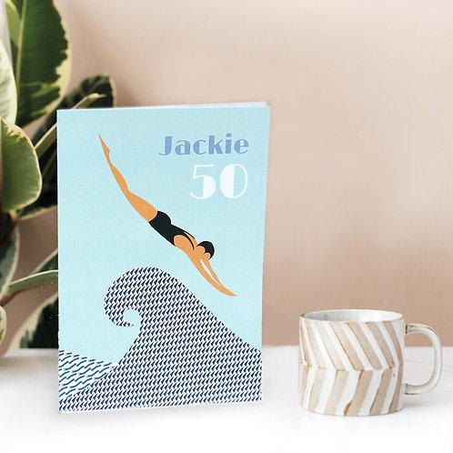 Personalised Swimmer's Greetings Card