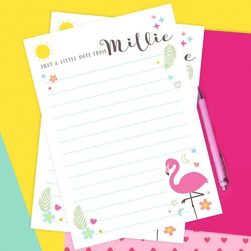 Personalised Flamingo Writing Set