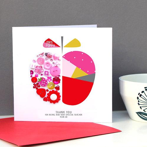 Personalised Teacher Geometric Apple Card