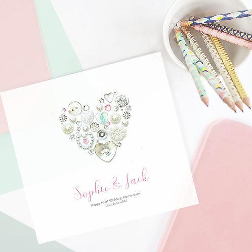 Personalised Pearl Anniversary Card