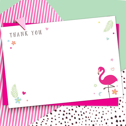 Pack of 10 Flamingo Thank You Cards