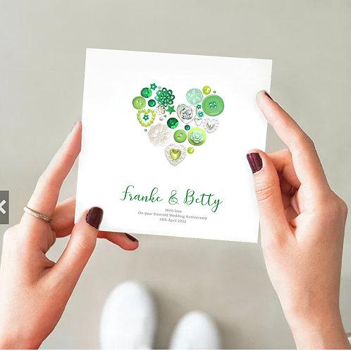 Personalised Emerald Anniversary Card