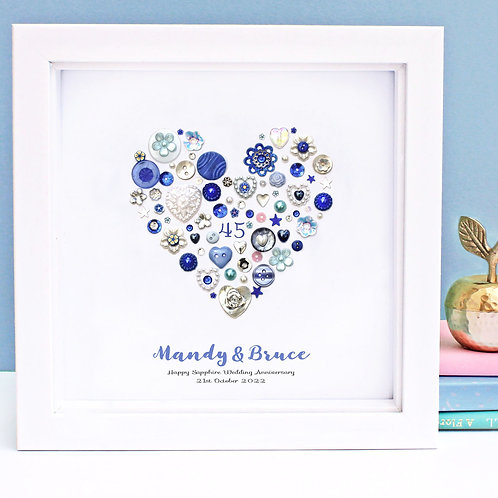 Personalised Sapphire Anniversary Button Heart