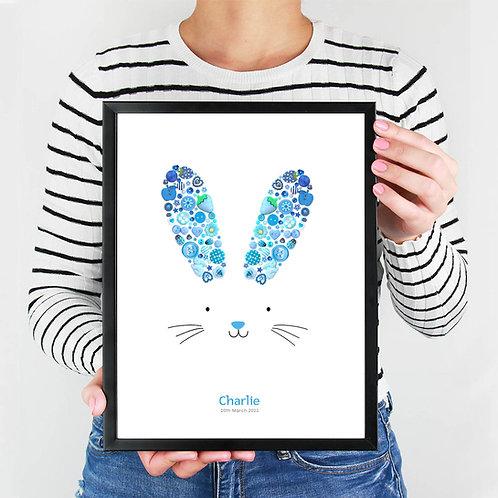 Personalised Blue Bunny Ears Print