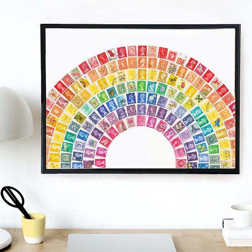 Rainbow Vintage Stamp Print