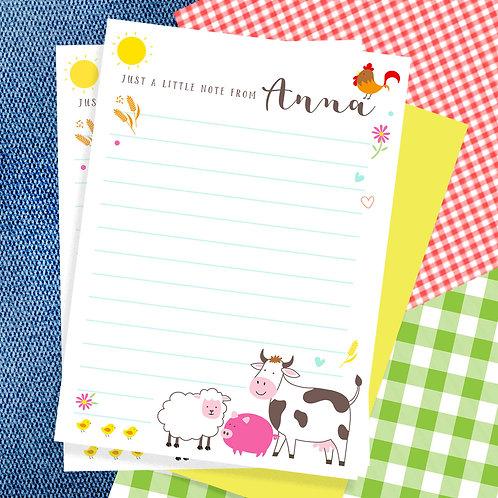 Personalised Farm Yard Writing Set