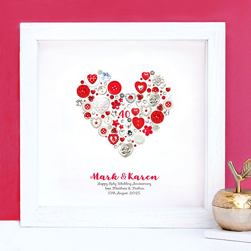 Personalised Ruby Anniversary Button Heart