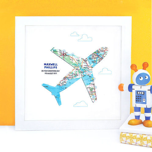 Personalised Map Aeroplane Print