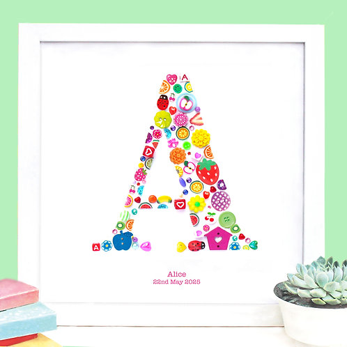 Personalised Girl Button Letter