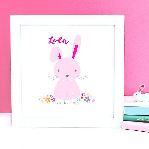 Personalised Baby Girl Rabbit Print