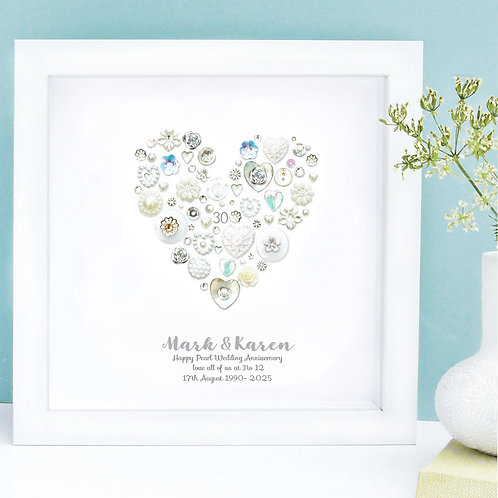 Personalised Pearl Anniversary Button Heart
