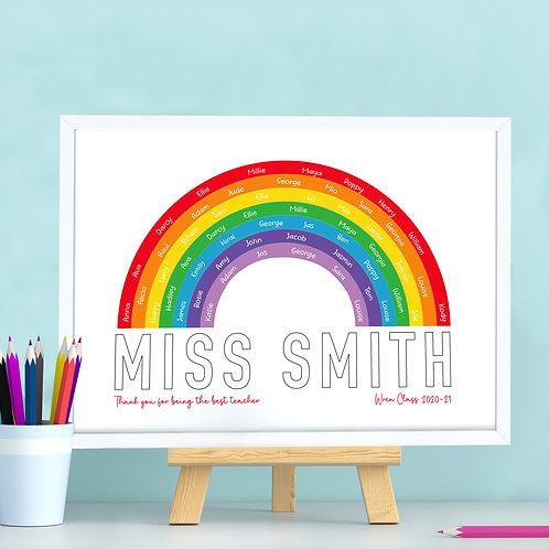 Personalised Teacher Rainbow Print