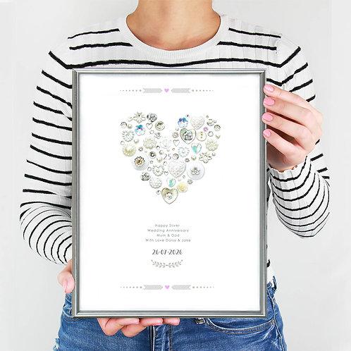 Personalised Silver Anniversary Print