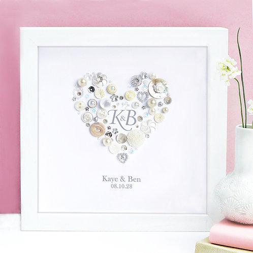 Personalised Wedding Initials Button Heart