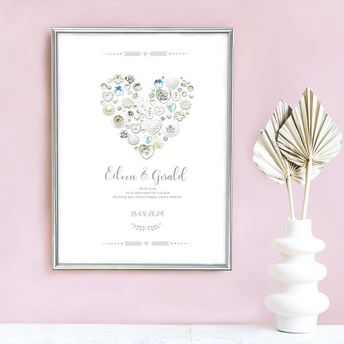 Personalised Button Heart Wedding Print