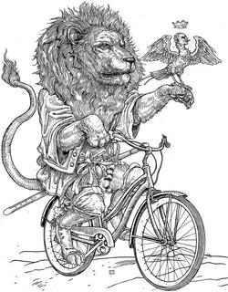 lion on bike