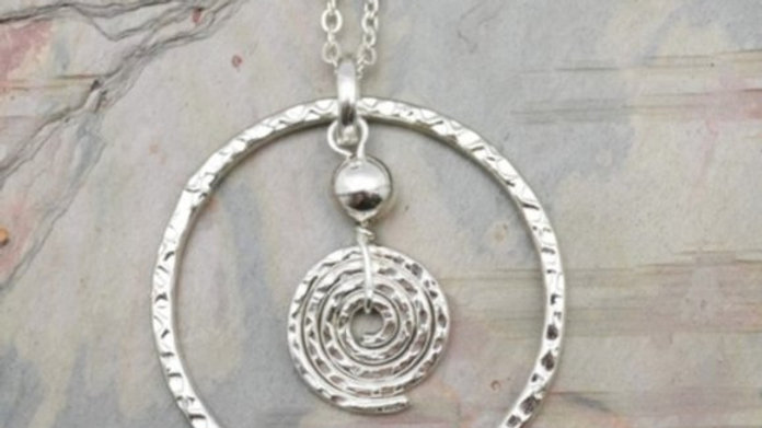 Handcrafted Textured Silver Circles Necklace