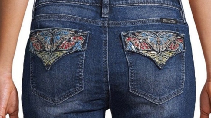 Miss Me Sequined Butterfly Skinnies