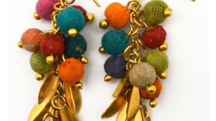 Recycled Sari Handcrafted Aasha Earrings