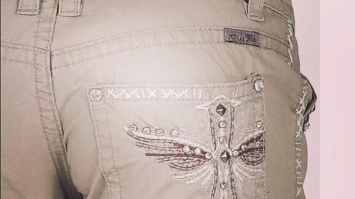 Miss Me Angel Winged Khakis