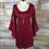 Thumbnail: Eye-Catching Bell Sleeved Burgundy Dress