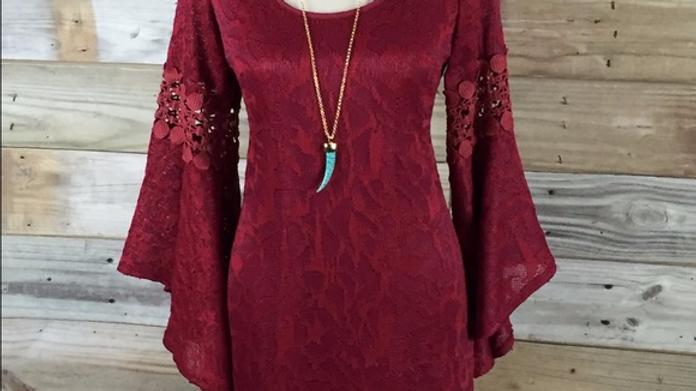 Eye-Catching Bell Sleeved Burgundy Dress