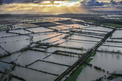 Flooded fields in East Oxfordshire