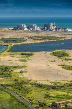 Aerial view of Denge Marsh and Dungeness Nuclear Power Station