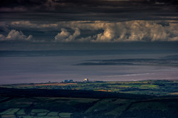 Bristol Channel. The two Nuclear power stations on Hinkley Point overlooking the Bristol Channel