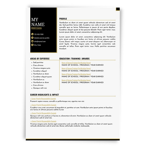 Editable Resume & Matching Cover Letter Templates: Black/Gold