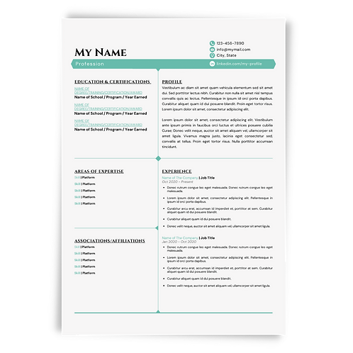 Editable Resume & Matching Cover Letter Templates: White/Sea Green