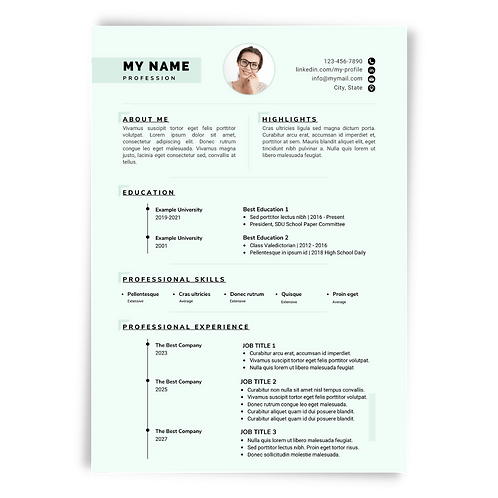 Editable Resume & Matching Cover Letter Templates: Sea Green