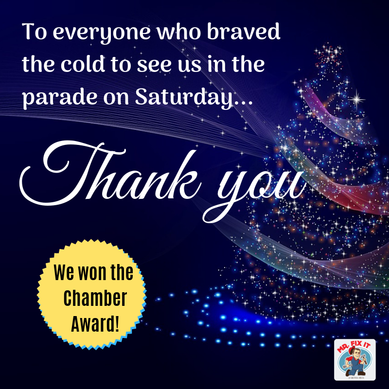 """Sparkly Christmas Tree with the words """"Thank you to everyone who braved the cold to see us in the parade one Saturday! We won the Chamber Award!"""""""