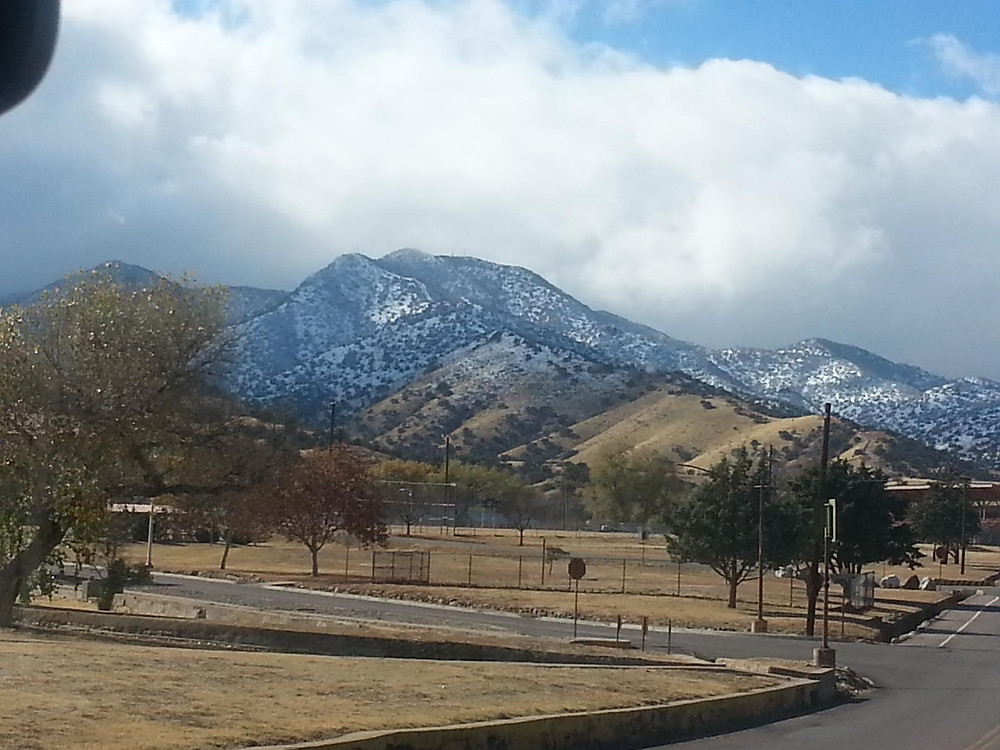 Snow on the mountains on Fort Huachuca, AZ, in 2012
