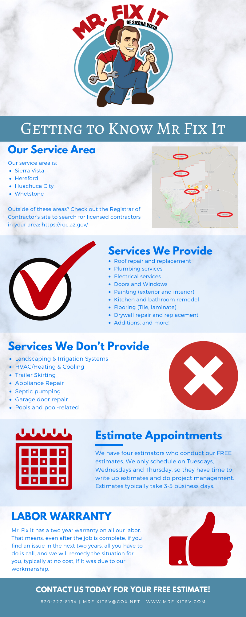 Infographic with Mr Fix It Logo that states our service area, services we do and do not provide, getting an estimate and labor warranty.