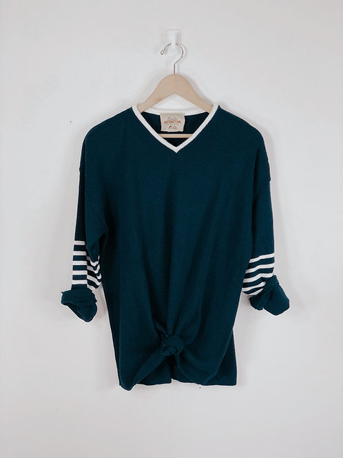 White Banded Sweater