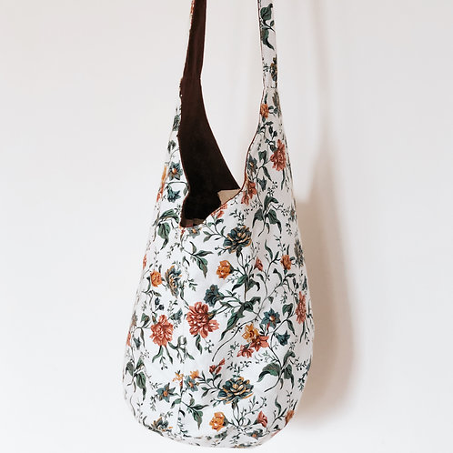 90's Floral Canvas Hobo Bag