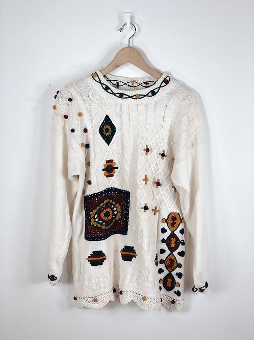 80's Crocheted Patched Sweater