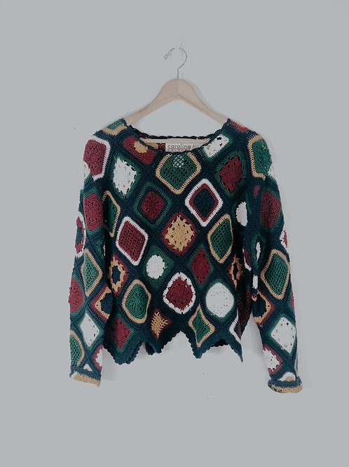 90's Crocheted Square Sweater