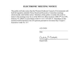 ELECTRONIC MEETING NOTICE