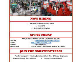 Sarstedt Summer 2020 Positions Available - Now Hiring!