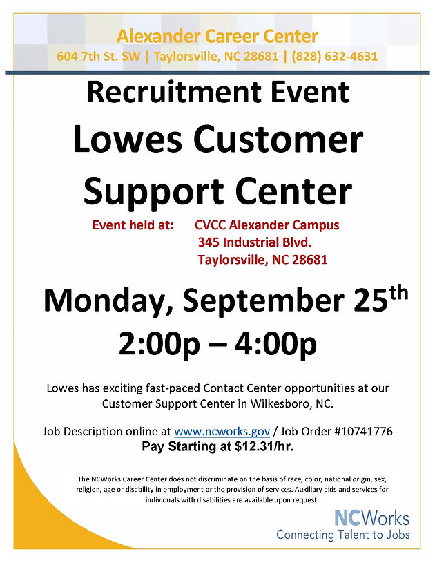 Recruitment Event for Lowes' Customer Support Center at the