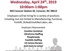 Multi-Employer Recruitment Event at NCWorks Career Center-Catawba | April 24, 2019 | 10:00am‐1:00pm