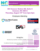 Catawba County Job Fair with Multiple Employers on August 19