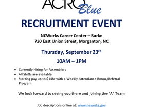 Acro Blue Recruitment Event on September 23