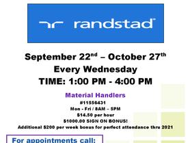 Randstad Recruitment Event Every Wednesday, Sept 22 - Oct 27