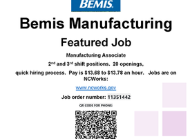 Bemis Manufacturing Hiring 2nd & 3rd Shift Positions