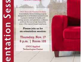 Applications for Admission to the CVCC Alexander Furniture Academy are Now Being Accepted. Orientati