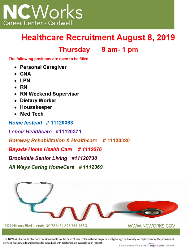Healthcare Recruitment August 8, 2019 | 9 am to 1 pm